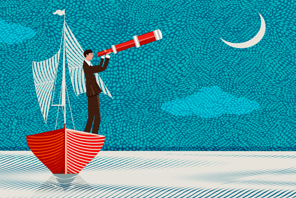 graphic of man on a boat