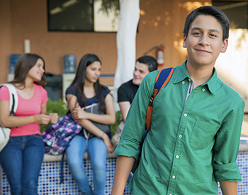 Photo of student with backpack.