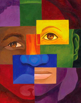 Colorful abstract graphic of an African American boys face
