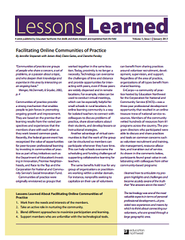 Lessons Learned Volume 3, Issue 1 Cover