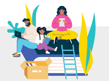 Graphic showing family reading together
