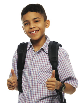 student wearing a backpack looking at the camera with both thumbs up