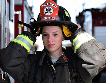 Photo of a student firefighter