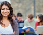 Hispanic female student looking at the camera