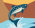 illustration from infographic showing a fish jumping