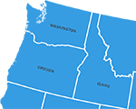 Map of Oregon, Idaho and Washington