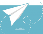 Graphic featuring a paper airplane