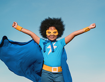 Photo of a child dressed as a superhero